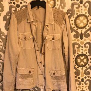 Maurice's tan linen jacket size L